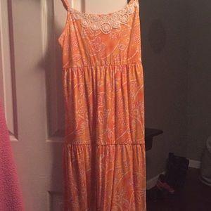 Maxi dress little girl orange with white